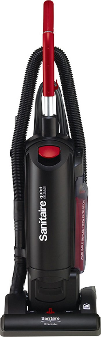 Sanitaire SC5713B Commercial Quite Upright Bagged Vacuum Cleaner with Tools and 10 Amp Motor, 13'' Cleaning Path