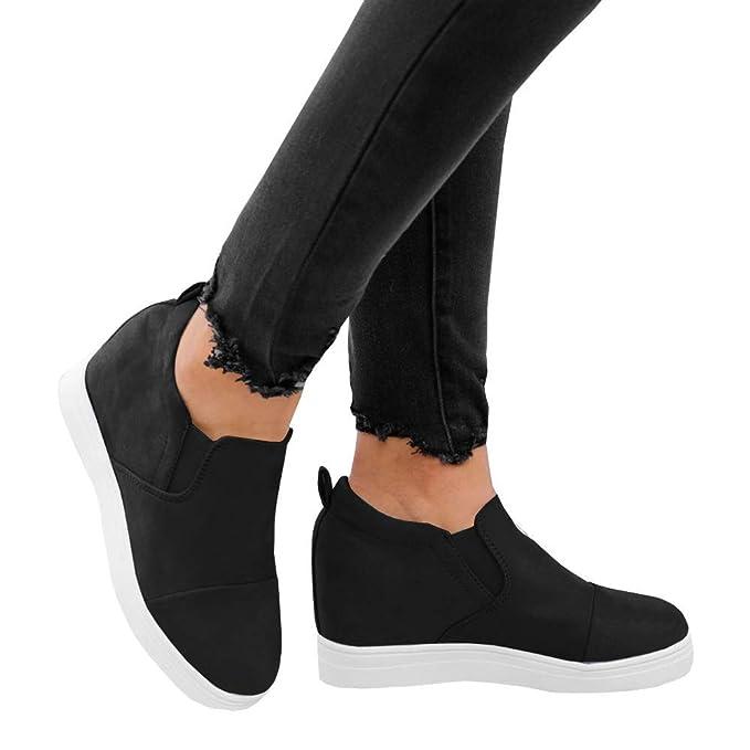 Amazon.com: Ermonn - Zapatillas ocultas de cuña para mujer ...