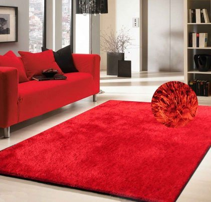 (Red Shag Rug Made In Tibet Size 5' x 8' HAND TUFTED)