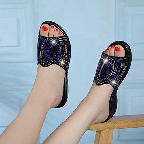Sandales Marin antidérapant Strass Brillante pour Forme Cales Bleu Confort Plate Robe Diapositives Bas Noir Sandales Femmes UqCwqp