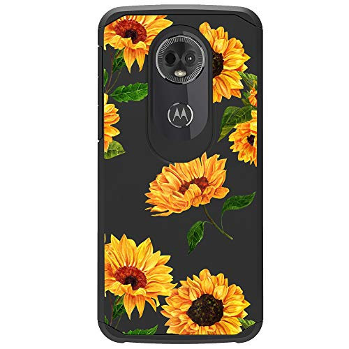 MINITURTLE Case Compatible Motorola MTO E5 Cruise | Moto E5 Play [Floral Print Series][Cute Hybrid Case Girls][Floral Print][2-Part Silicone & Shell Case] - Sunflowers