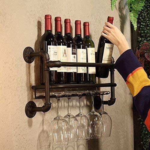 Lisuden Industrial Wall Mounted Wine Rack Metal Shelf 5 Long Stemware Glass Hanging Racks Wine Bottle Holders /& Wine Cork Storage Restaurant Cafe Kitchen Storage Shelf Black 23in