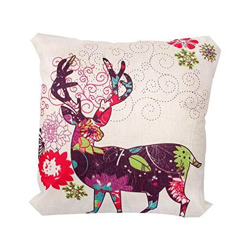 Noon-Sunshine decorative-plaques 45x45cm Pillow Case Christmas Decorations for Home Santa Clause Christmas Deer Cotton Linen Cover,Style 6 ()