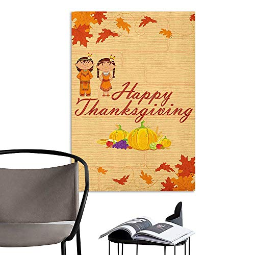 Alexandear Canvas Print Wall Art Kids Thanksgiving Children in Native American Costume Preserving Indigenous Heritage Orange Multicolor Kitchen Room Wall W20 x -