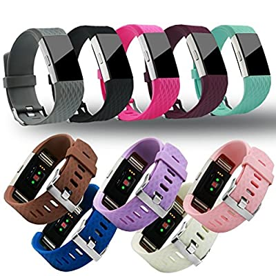 Fitbit Charge 2 Replacement Band By GHIJKL - Soft Flexible Silicone Wristband - Adjustable Length - Sizes For Men & Women - Breathable Bracelet - Durable Closing Clasp - Variety Of Colors Available ¡