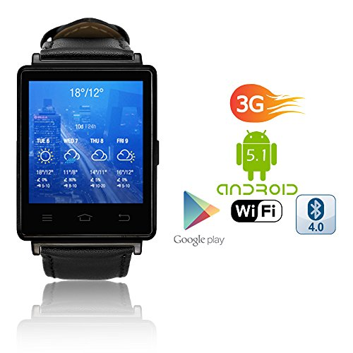 Indigi 2017 Android 5.1 3G Unlocked SmartWatch & Phone WiFi + GPS(Maps) + Heart Rate Monitor + Google Play Store by inDigi