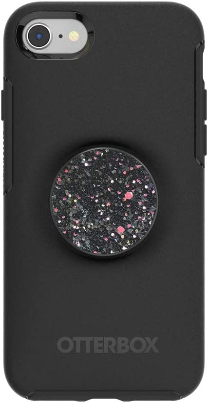 Otter + Pop for iPhone SE, 7 and 8: OtterBox Symmetry Series Case with PopSockets Swappable PopTop - Black and Sparkle Black