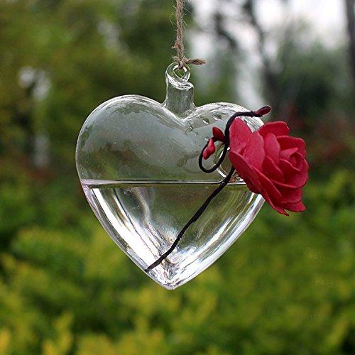Kicode Forma Clara del corazón Botella Colgante de Vidrio Contenedor hidropónico Flor de la Planta Flor DIY Decoración del jardín de la Boda de la ...