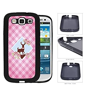 Pink Plaid Pattern with Cute Floral Deer Diamond Center Design Samsung Galaxy S3 I9300 Silicone Cell Phone Case
