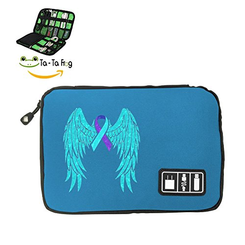 Zihoco Fashion Data line Storage Bag,Suicide Awareness Ribbon And Wings Electronics Accessories Travel Bag blue - Data Card Ribbon