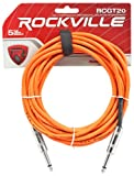 Image of Rockville RCGT20O 20' 1/4'' TS to 1/4'' TS Instrument Cable-Orange 100% Copper
