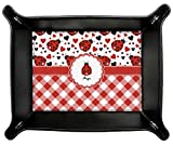 Ladybugs & Gingham Genuine Leather Valet Tray (Personalized)