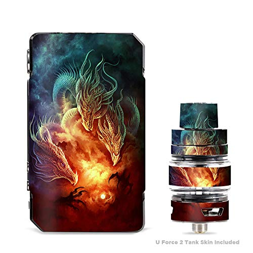 IT'S A SKIN Decal Vinyl Wrap for VooPoo Drag 2 V2 & UForce T2 Tank Vape Sticker Sleeve Cover/Dragons Fireball Magic