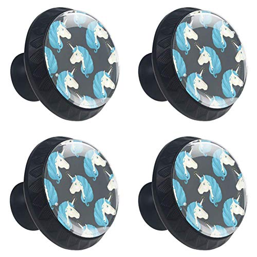 LORVIES Pony Unicorn Drawer Knob Pull Handle Crystal Glass Circle Shape Cabinet Drawer Pulls Cupboard Knobs with Screws for Home Office Cabinet Cupboard (4 -