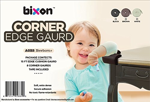 Bixon Corner Edge Guard - 15 ft Edge + 8 Corner Cushion Guards with Double-Sided Tape; Keeping Toddlers Safe from Table Corner Injuries through Secure Adhesion Proofing (Coffee Brown) by BiXonTM (Image #1)