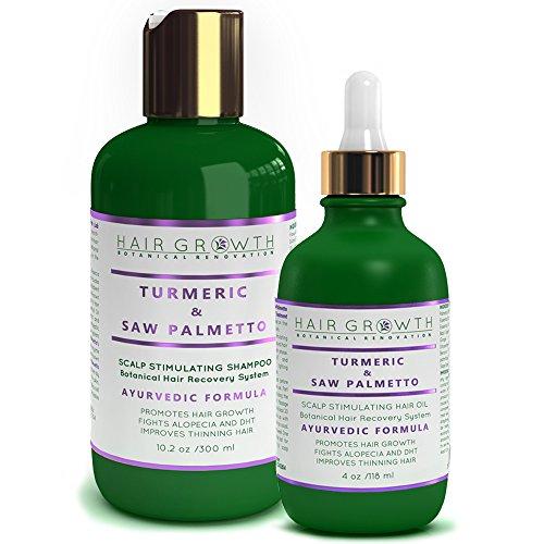STEPS 1 & 2: Turmeric/Curcumin - Saw Palmetto Natural Hair Growth Pre-Shampoo Scalp Treatment 4 Oz and Anti-Hair Loss Shampoo 10.2 Oz For Hair Loss and Hair Thinning Prevention