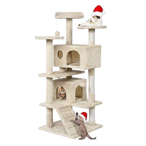 Yaheetech Árbol para Gatos Rascador Casa para Gatos Escalera Juguete de Sisal Altura 130 cm
