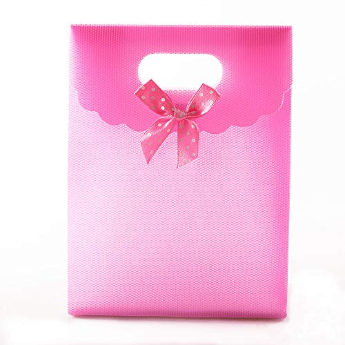 12pcs 6.5x5inch (16.5x12.5x6cm) Pink Plastic Gift Pouch Bags with Handles Cheap Party Bags Small Gift Bags Wholesale Wedding Gifts Bag