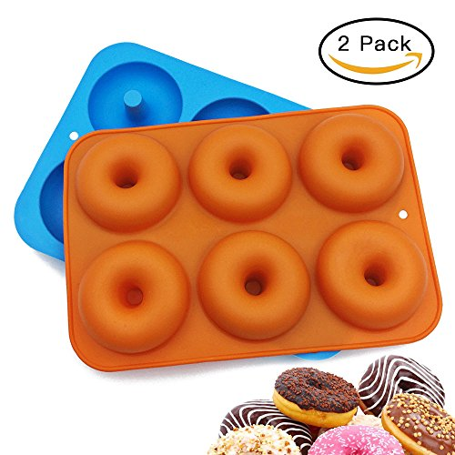 LETSPARTY 2 Pack Donut Baking Pan, Silicone Maker, Non-Stick Mold, Bake Full Size Perfect Shaped Doughnuts