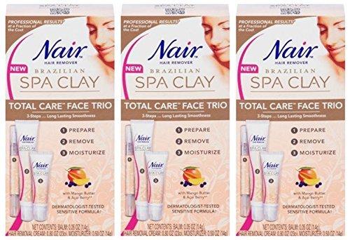 Lot of 3 NAIR Hair Remover Brazilian SPA CLAY sensitive TOTAL CARE FACE TRIO