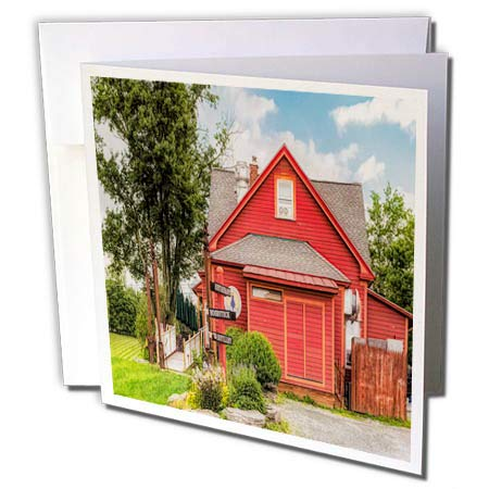 3dRose Roni Chastain Photography - Red Barn with Signs - 12 Greeting Cards with envelopes (gc_295643_2)