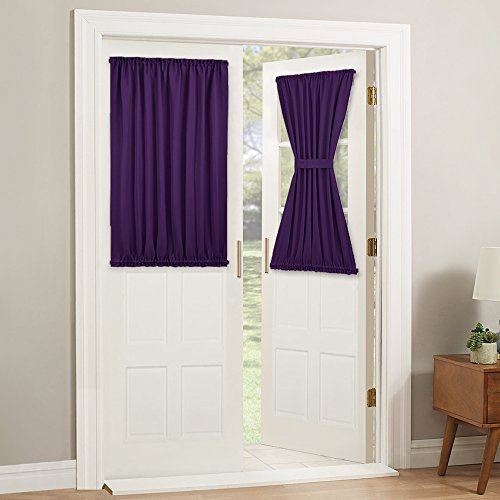 PONY DANCE Blackout Curtain Panels - French Door Solid Thermal Insulated Rod Pocket Window Treatments for Sliding Glazed Door with Tie Back, Wide 54 x Long 40 inches, Purple, 1 -