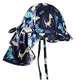 Baby Sun Hat with Flap - Child Toddler Boys Summer UPF 50+ Floppy Dinosaur Hat Adjustable Cap 0-6 Months