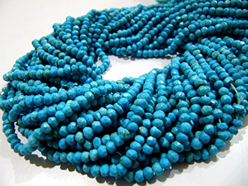 (AAA Quality Turquoise Beads Strings 13.5 inch Long, Magnesite Rondelle Faceted Beads 3mm to 3.5mm. Semi Precious Stone Beads for Jewelry)