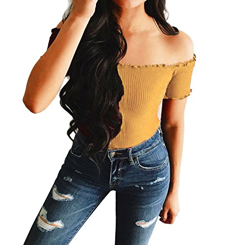 Handyulong Women Sexy Off The Shoulder Tops Short Sleeve Shirts Solid Teen Girls Casual Blouse Tops (S, Yellow)