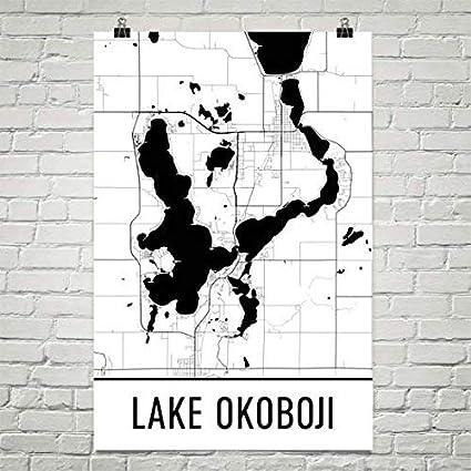 Amazon Com Lake Okoboji Iowa Lake Okoboji Ia Iowa Map Iowa Decor