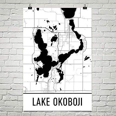 Carte Moderne Art lac Okoboji Iowa, Carte Okowaji IA, Carte de l'Iowa, décor de l'Iowa, Carte du lac, Art du lac Okoboji, Art, décoration de Chalet, Okoboji IA, Voile, Affiche de pêche 24'x36 Carte de l'Iowa décor de l'Iowa