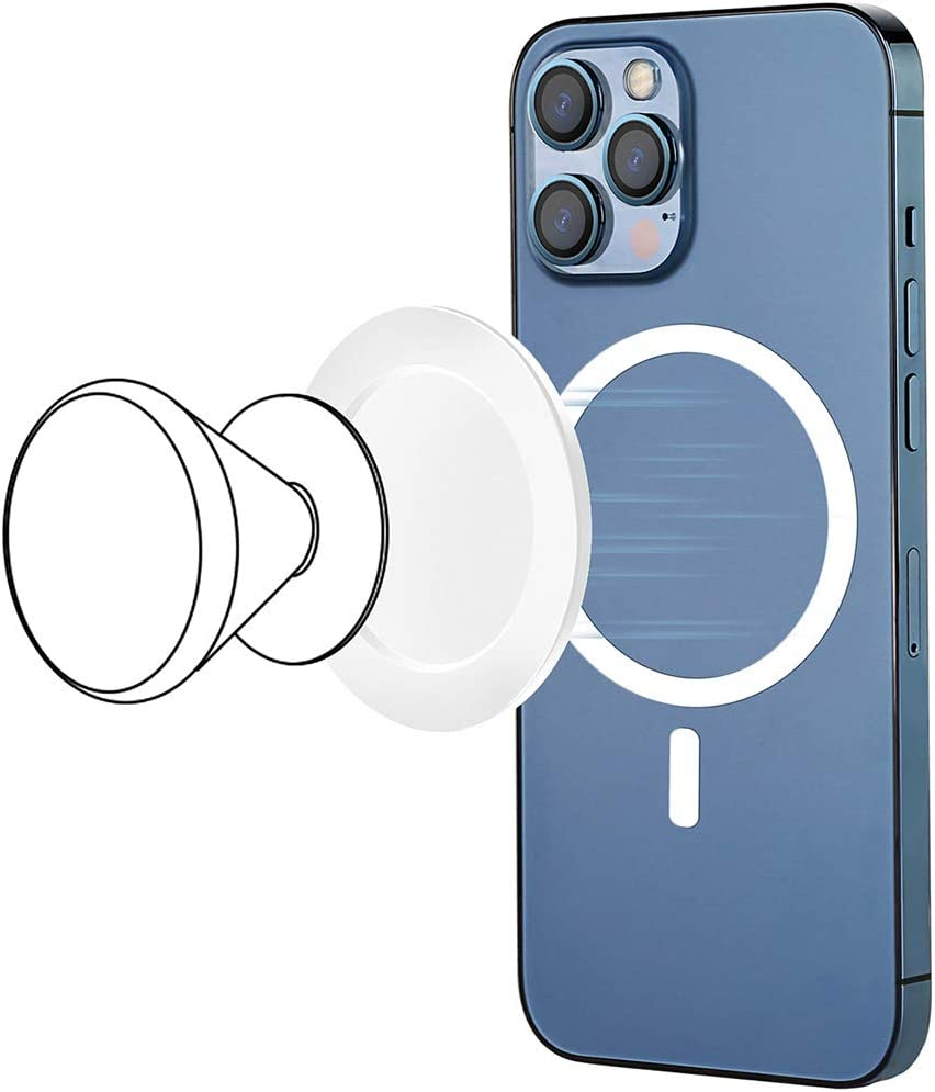 METISINNO Magnetic Phone Holder Base, Only Compatible with iPhone 12 MagSafe, Allows Pop/Grip/Ring Phone Holder Become Magnetic Accessories- White (Phone Holder Not Include)