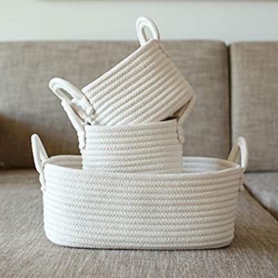 Cotton Rope Storage Baskets, Set of 3 Toy Organizer for Woven Nursery Decor, Gift Basket