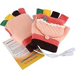 USB Warm Gloves Oenbopo Women\'s PC Laptop USB Heated Half & Full Finger Winter Warm Hand Gloves Warmer Wool (GS51)