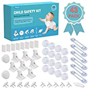 Magnetic Cabinet Locks Child Safety Kit, 43 Pack - 8 Magnetic Cabinet Locks+2 Keys, 16 Clear Corner Protectors, 10 Outlet Plugs+1 Key, 6 Child Safety Locks, No Drill Required Full Baby Proofing Set