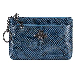 Women's Coin Pouch Purse 3 Zippered Genuine Leather Small Change Holder Wallet Purse RFID Blocking Card Wallet with Key Chain (Blue)