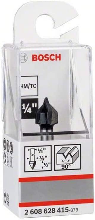 90 Degree Bosch 2608628415 V-Groove Bit with Two Flutes and Tungsten Carbide