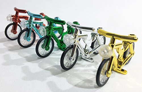 5 Pack LEGO Compatible Chrome Bicycles Bikes by Brick Loot -
