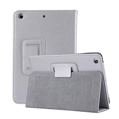 iPad 7.9 inch Mini 4 Sleeve Bumper Case,MeiLiio Premium Folio Leather Case Book Design Cover Lightweight Ultra Slim Stand Smart Protective Case for iPad Mini 4 Apple 7.9 inch Tablet (Silver) by MeiLiio