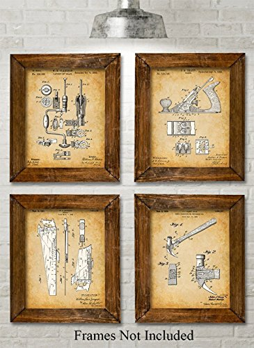 Original Woodworking Tools Patent Prints - Set of Four Photos (8x10) Unframed - Great Gift for Carpenters and Woodworkers from Personalized Signs by Lone Star Art