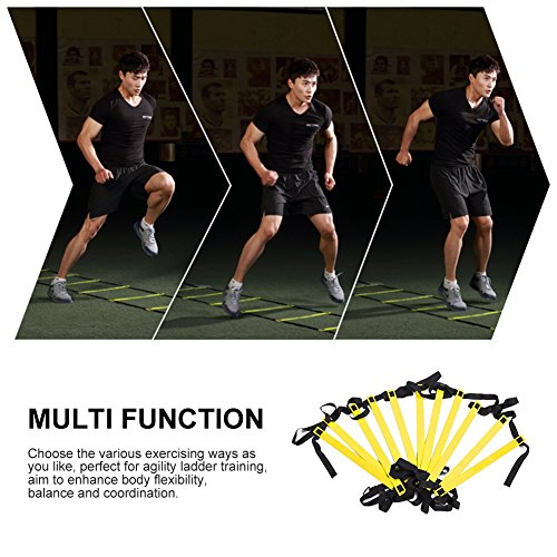 Agility Ladders RUNACC 19.7ft/12 Rungs Durable Sports Exercise Speed Training Ladders for Soccer, Football Adjustable Exercise Tool with Bonus Carry Bag