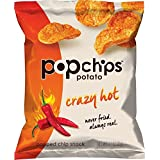 Popchips Potato Chips, Crazy Hot Potato Chips, 24 Count (0.7 oz Bags), Gluten Free Potato Chips, Low Fat, No Artificial Flavoring, Kosher