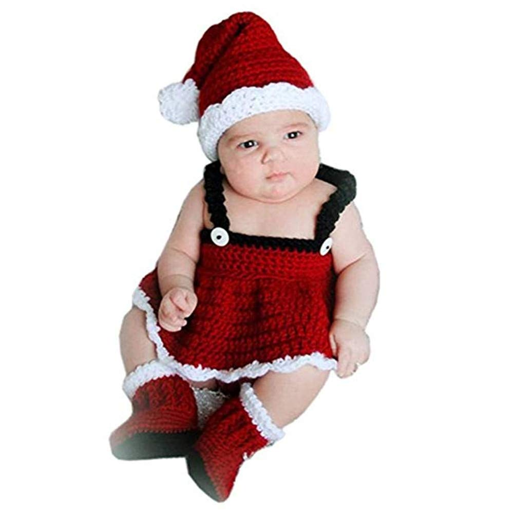 Crochet Baby Girl Santa Red Hat Dress Shoes Boots Outfit Set Newborn Photography Handmade Knitted Photo Prop Infant Christmas Costume xwanli