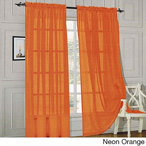 PH 2 Piece Neon Orange Curtains 2 Panel, 60 W X 84 L Inches, Sheer Rod Pocket Insulated Grommet Silver Finish Indoor Curtain, Casual Style, Solid Color Pattern, Polyester Material, Machine Washable -