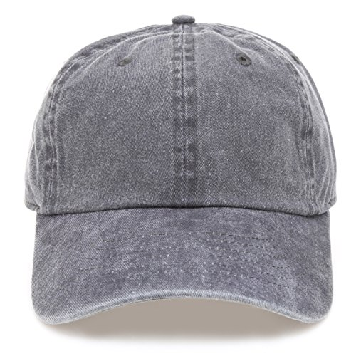 (MIRMARU Low Profile Vintage Washed Pigment Dyed 100% Cotton Adjustable Baseball Cap Hat.(Charcoal))