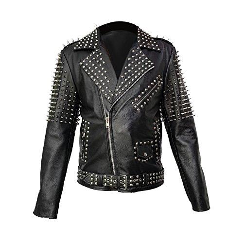 her Spike Jacket Studded Punk Style Cropped Jacket ()