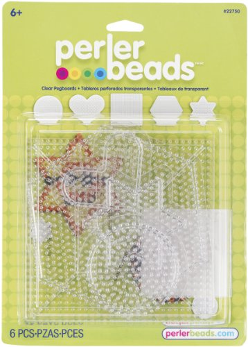 Perler Beads Small & Large Basic Clear Pegboards (Fun Shapes Fuse Bead Kit)