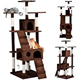 Yaheetech Cat Tree Scratcher Play House Condo Furniture with Steady Base and Mice Toys
