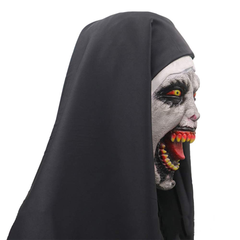 QQWE Máscara De Fantasmas Femenina De Halloween Monja De Terror Máscara De La Cabeza De La Muerte De Miedo Máscaras Espectáculo De Vestuario Prop Látex ...
