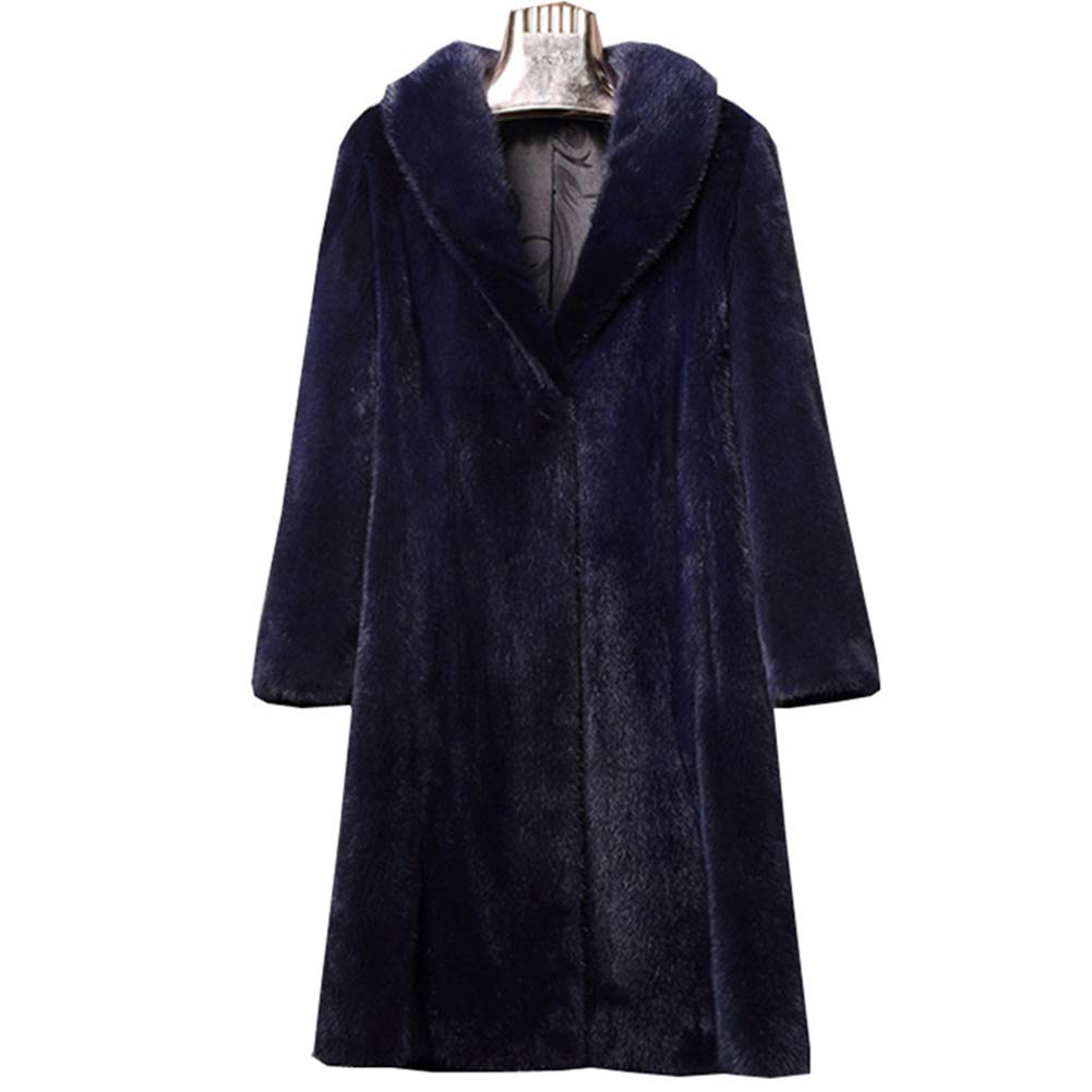 bluee Women's Faux Fur Coat, Luxury Medium and Long Warm Outerwear Lapel Long Sleeve Parka Overcoat for Winter Daily and Trekking, Solid color